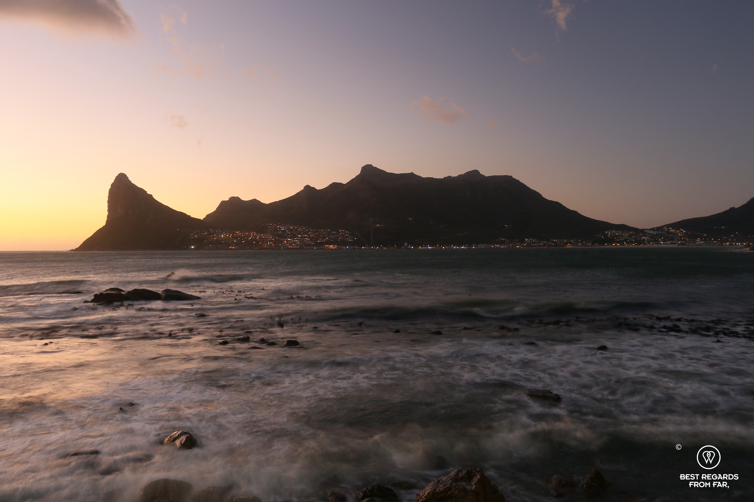 View at dusk on Hout Bay from Chefs Warehouse Tintswalo Atlantic