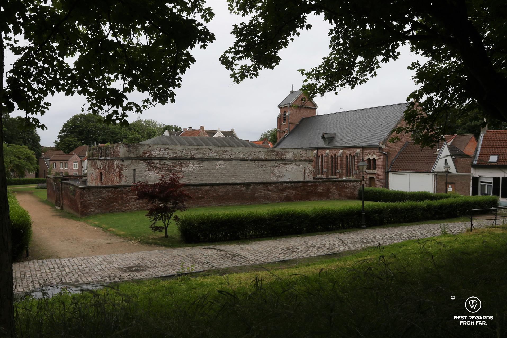 Lillo Fort and church, Antwerp, Belgium