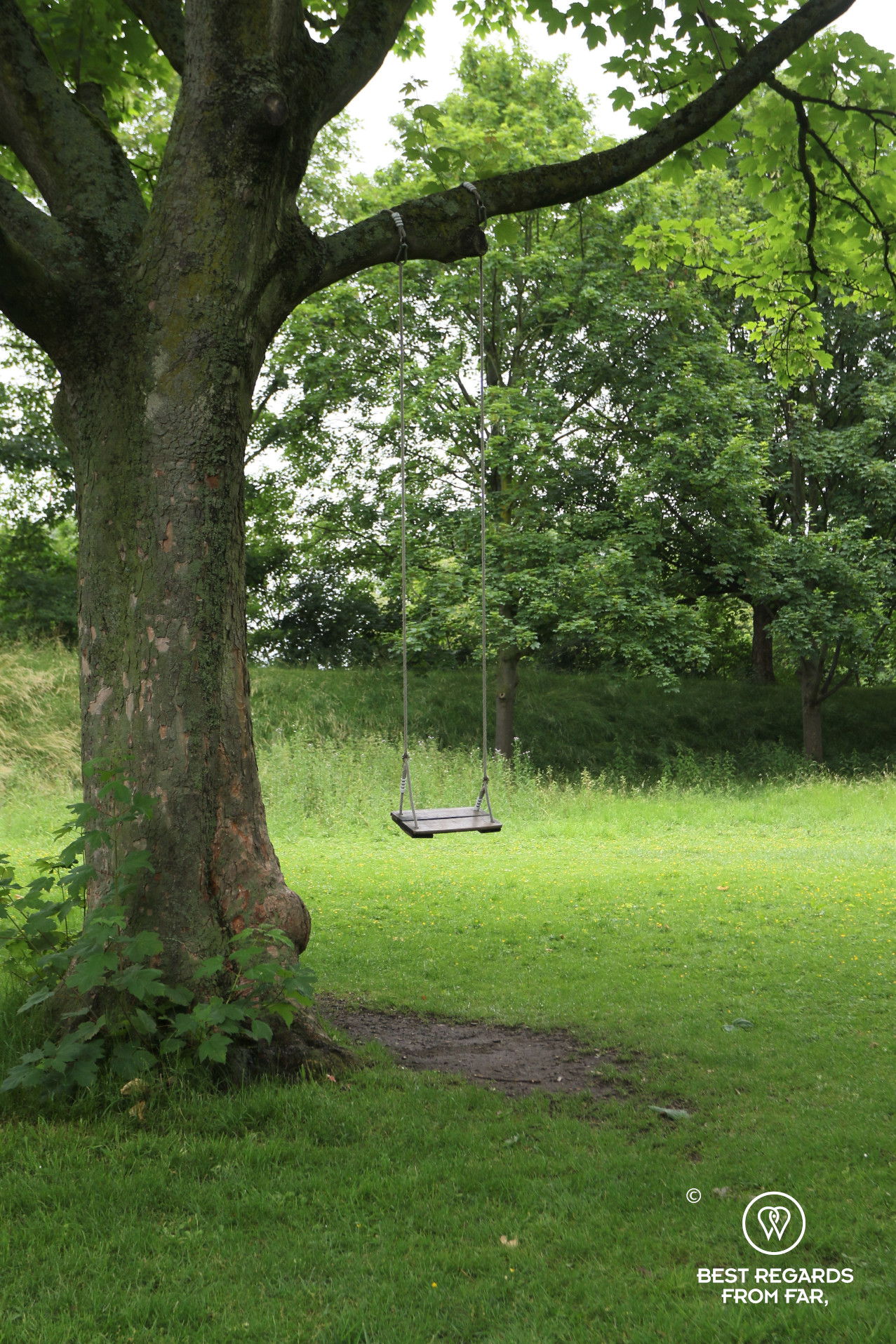 Playground in the greenery of the village of Lillo, Antwerp, Belgium