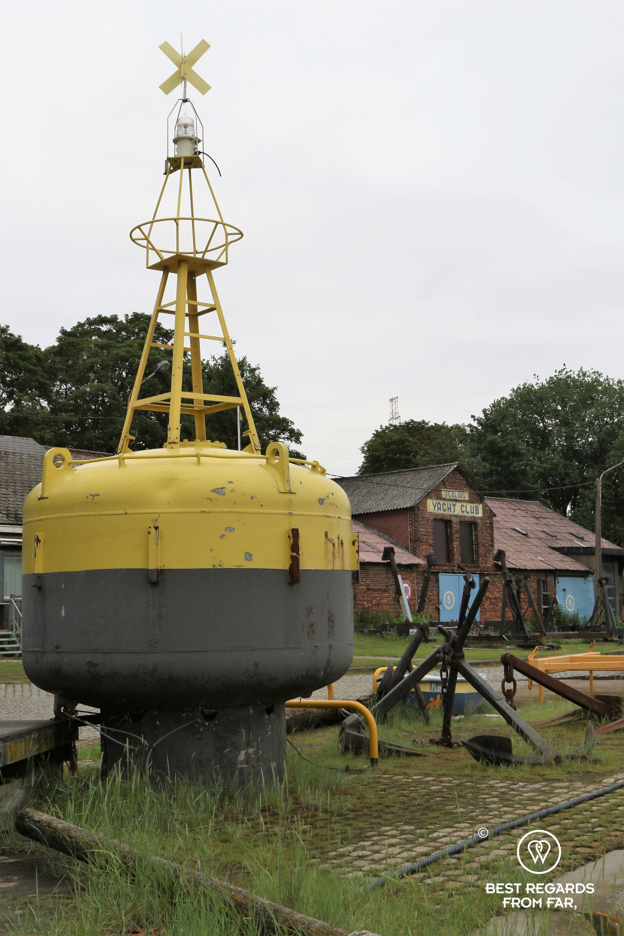 Yacht club in Lillo, Antwerp, Belgium, with a yellow buoy