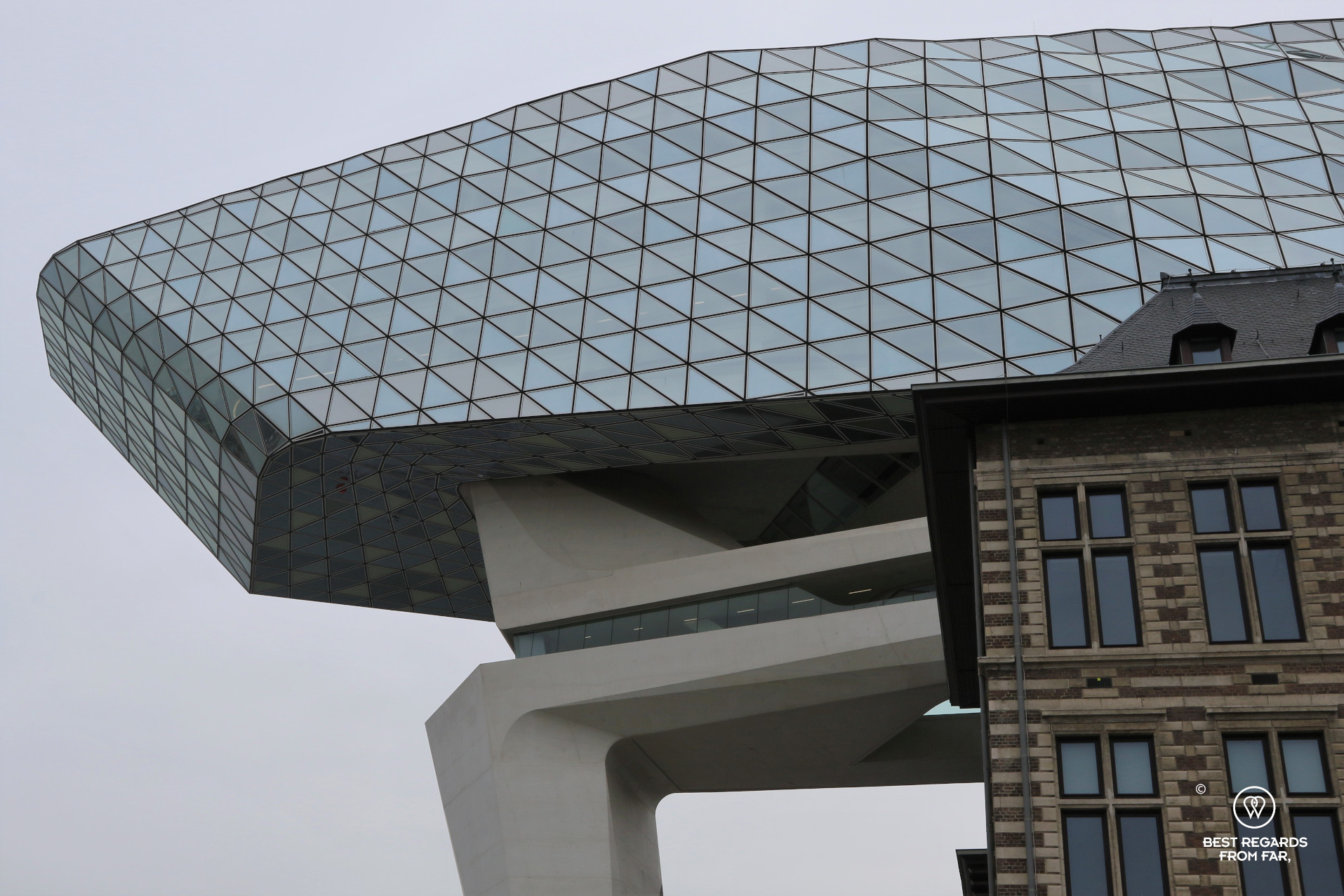 Close up of the iconic Port House of Antwerp, Belgium
