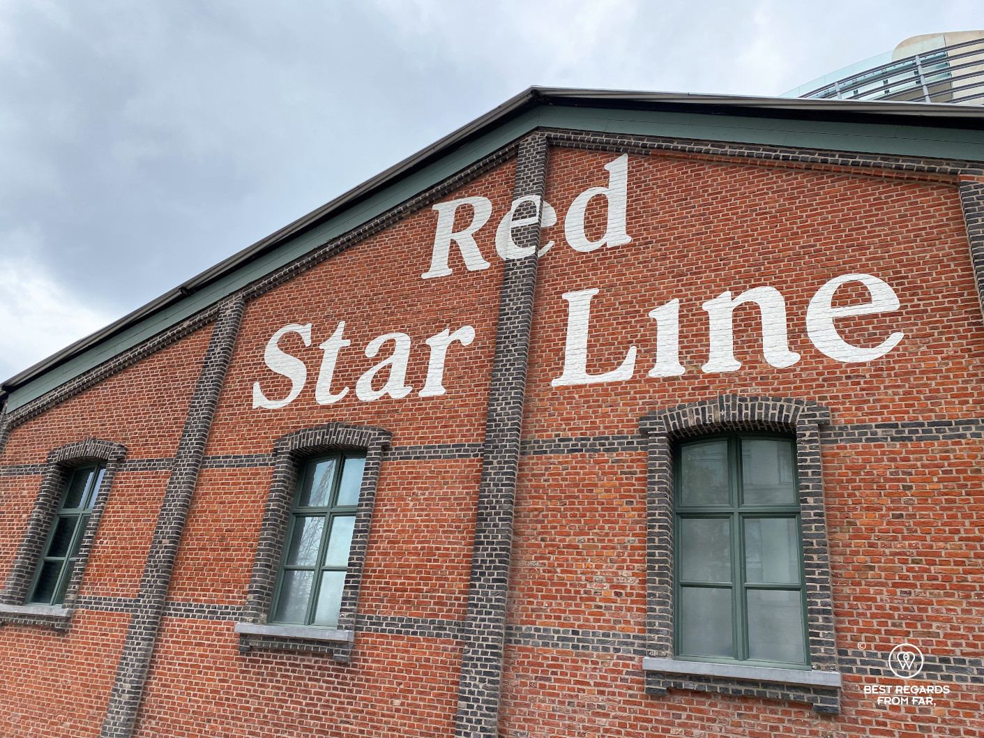 Red brick building of the Red Star Line Museum in the harbour of Antwerp, Belgium