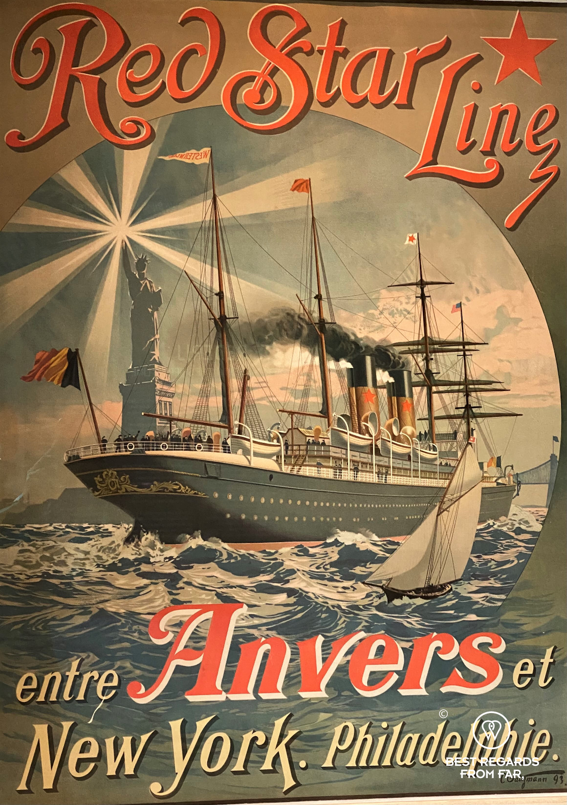 Red Star Line poster with a steamer, Antwerp, Belgium