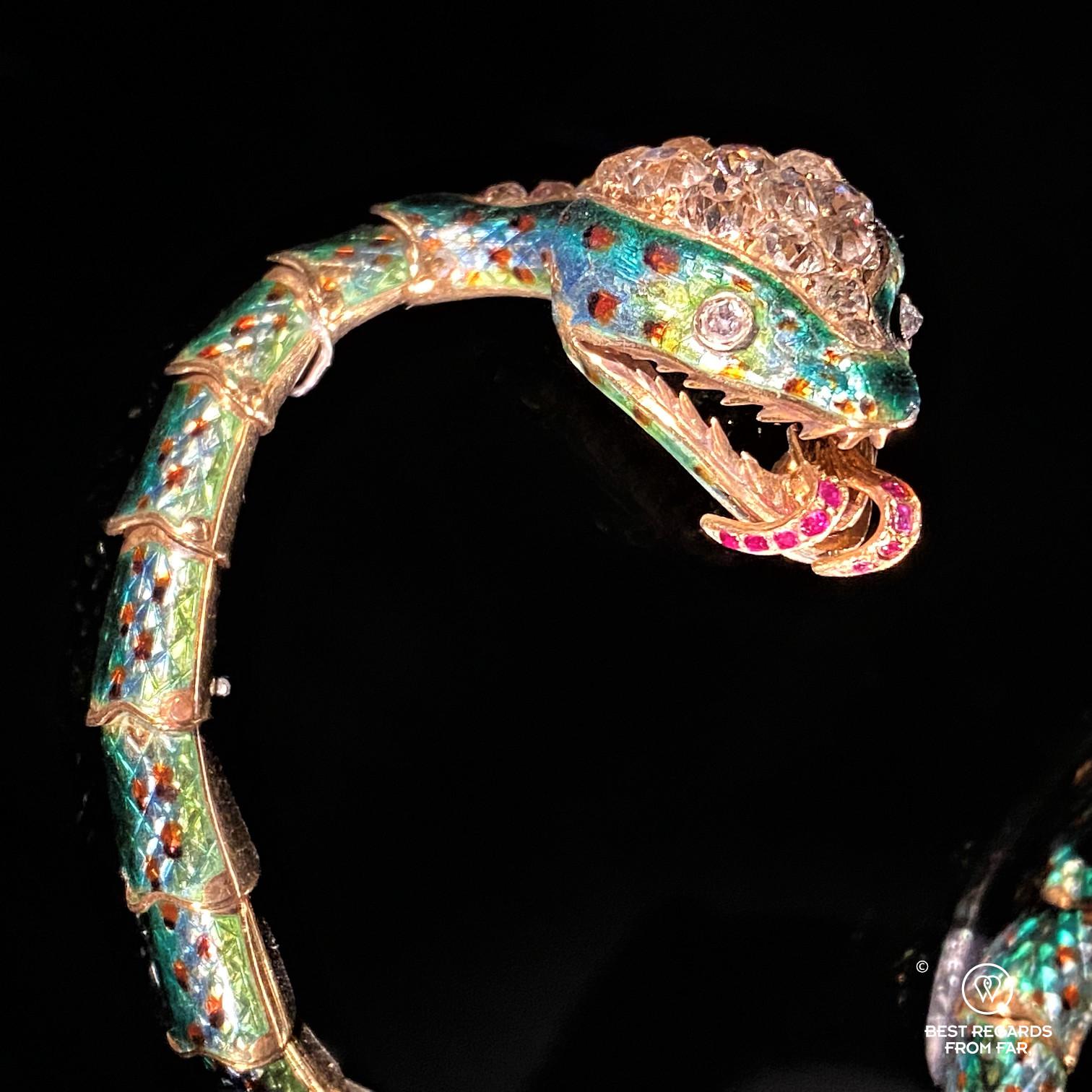Gold enamel ruby diamond snake bracelet from France at DIVA, Antwerp