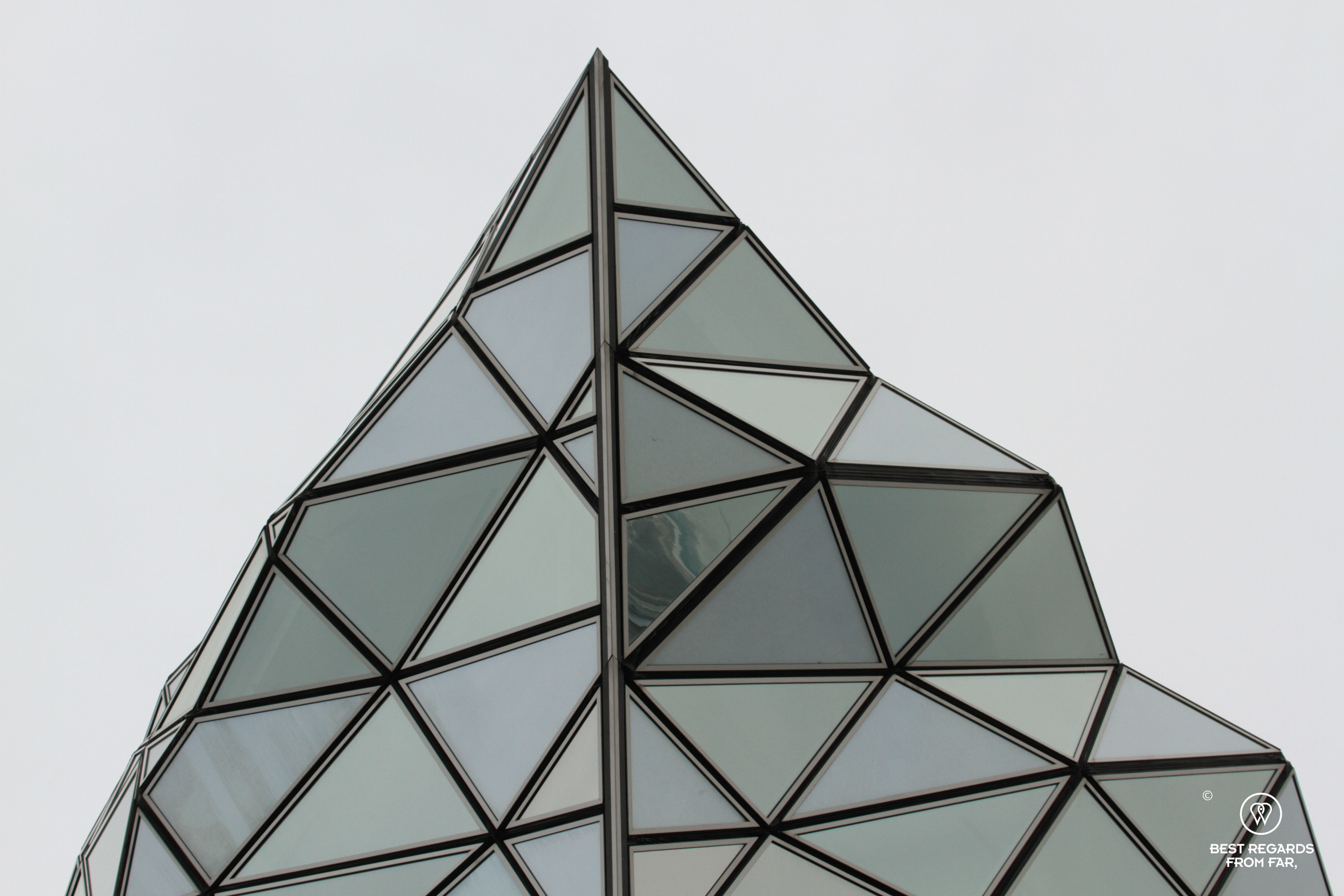 Close-up of the port house in Antwerp with is diamond-shaped roof