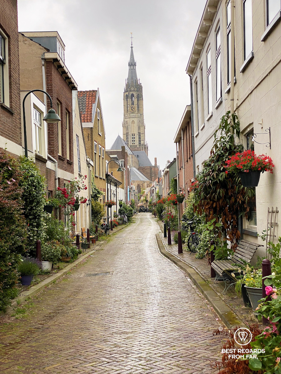The New Church Tower at the end of a cute street, Delft, The Netherlands