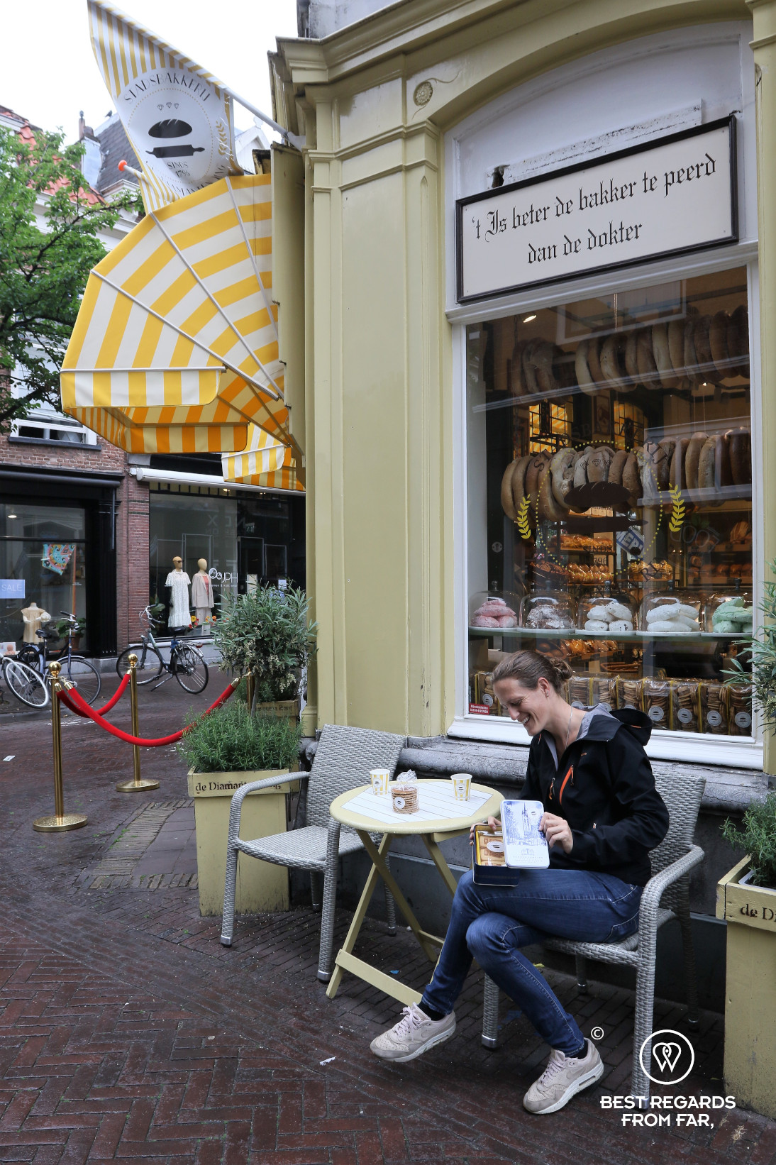 Tasting the specialties at Diamanten Ring bakery, Delft, The Netherlands