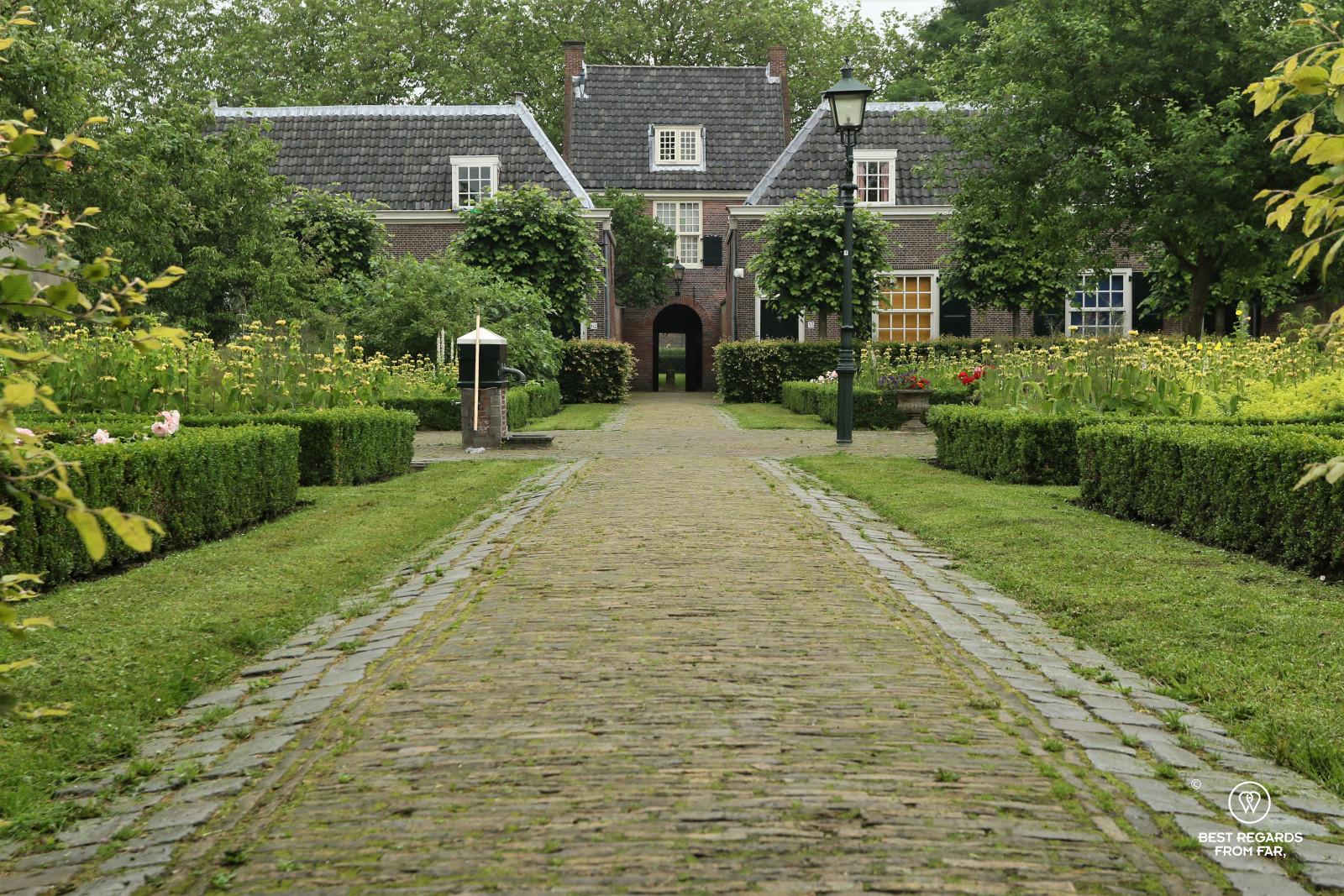 Cute garden of Hofje van Pauw, Delft, The Netherlands