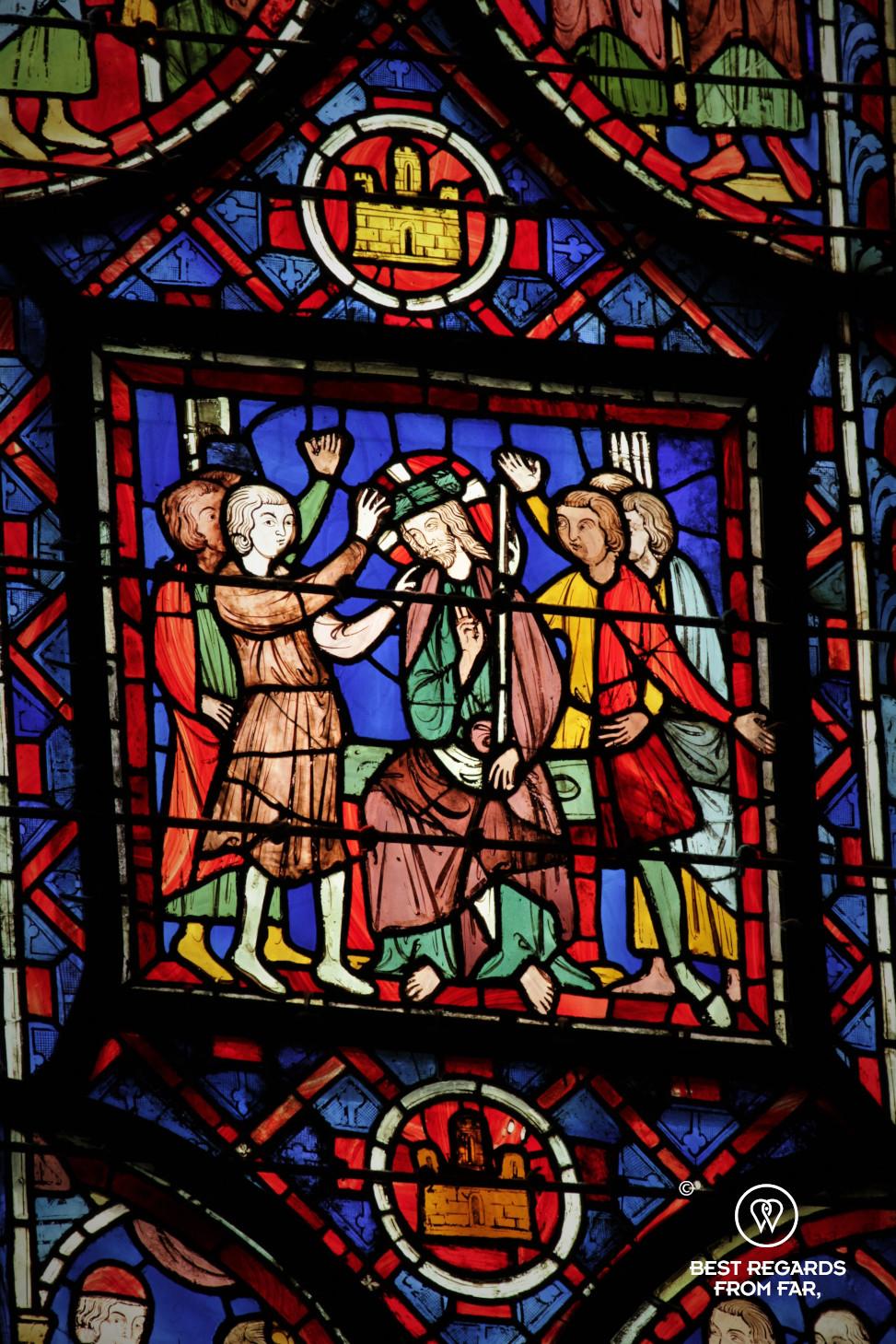 Stained-glass windows, La Sainte Chapelle, Paris, France
