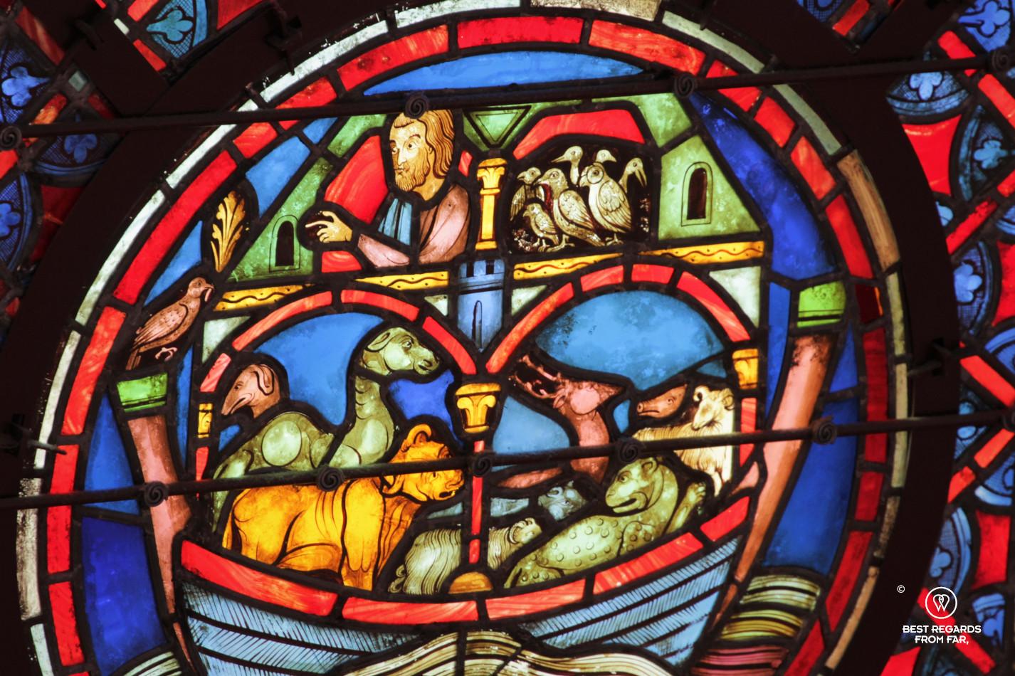 Noah's Arc depicted in stained-glass windows, La Sainte Chapelle, Paris, France