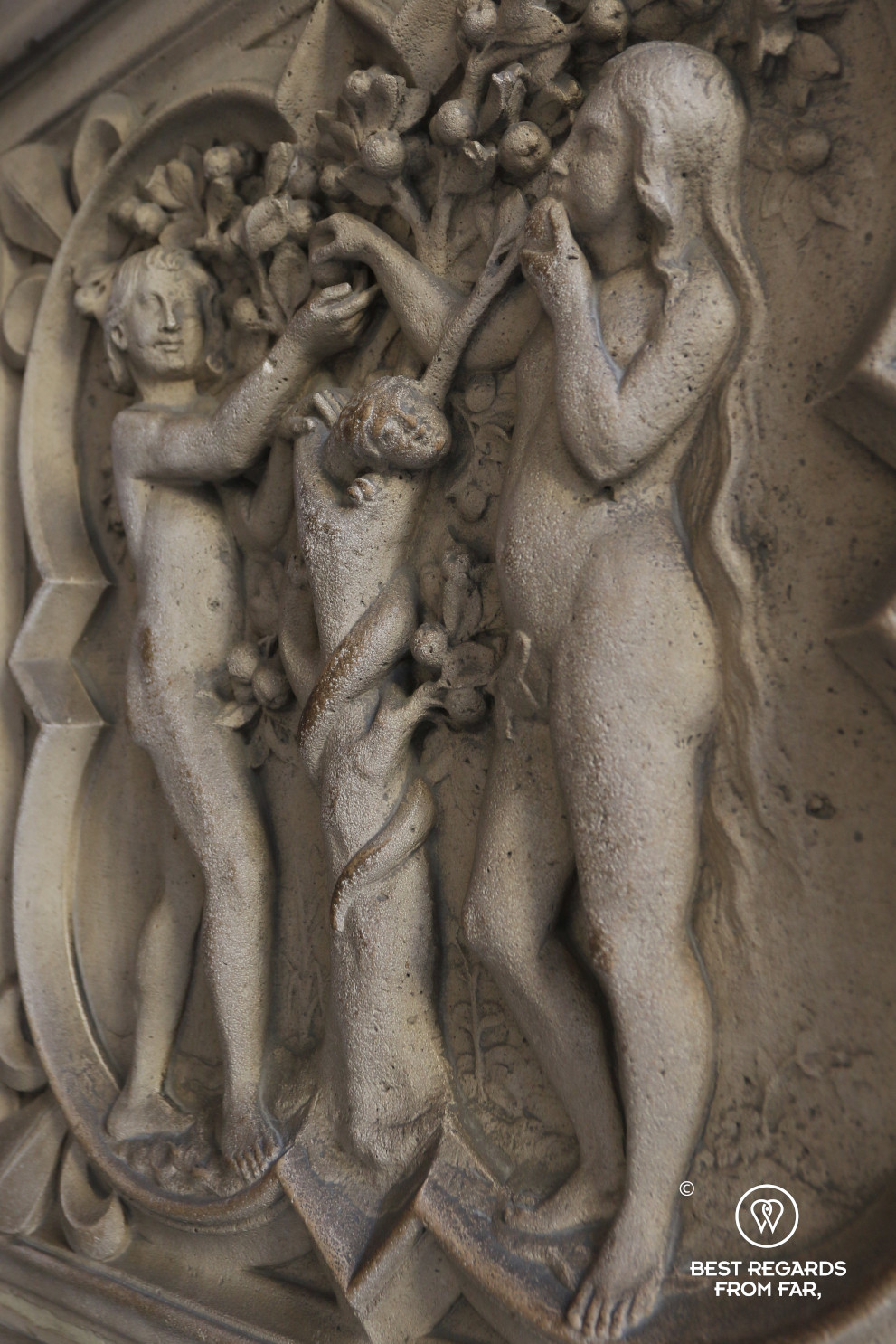 Relief of Adam and Eve at the Holy Chapel, Paris, France