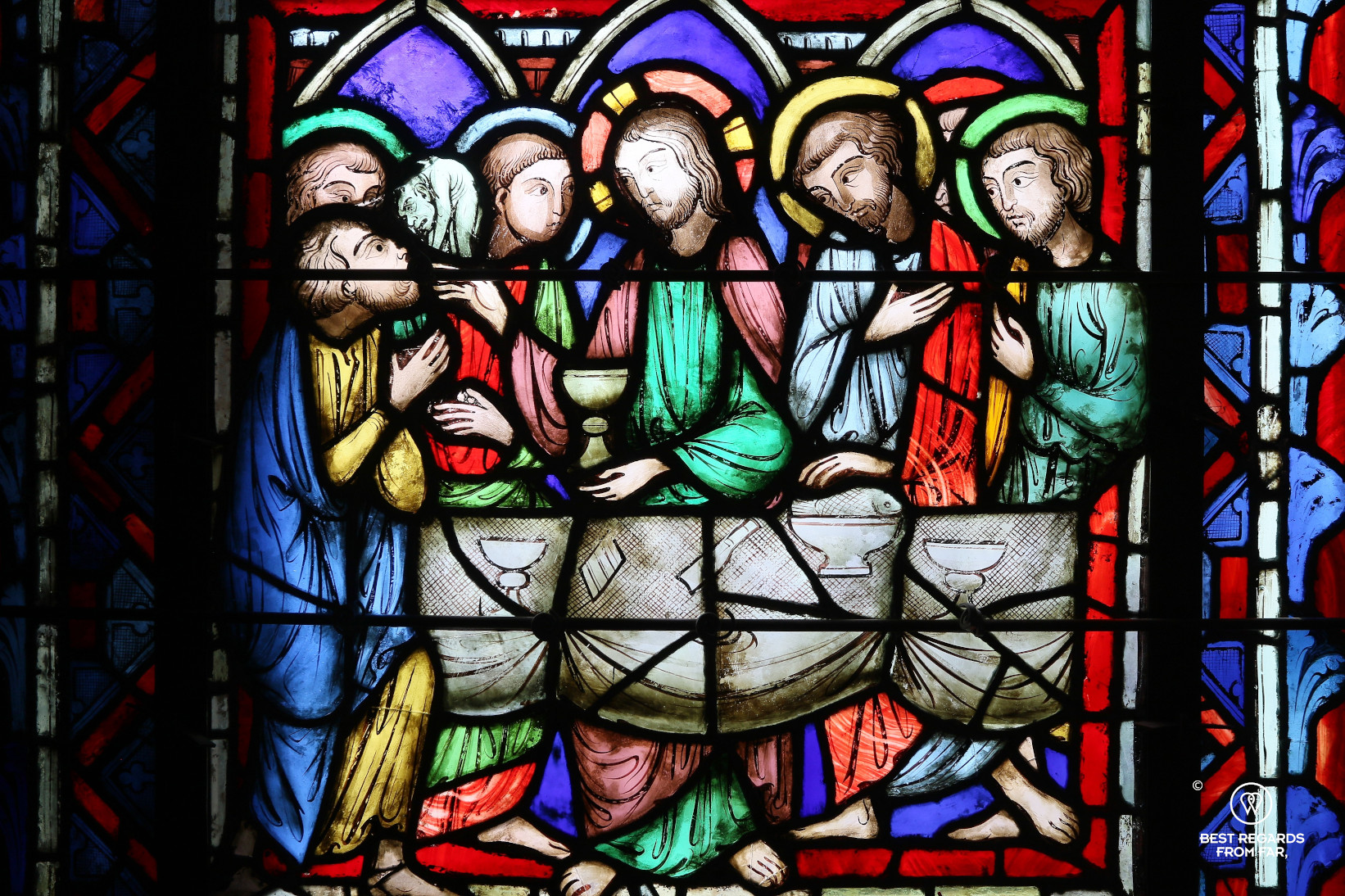 The last supper depicted in the stained-glass windows of La Sainte Chapelle, Paris, France