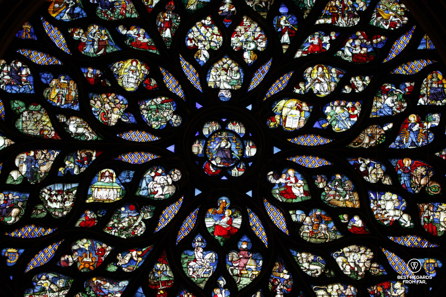The renovated stained-glass rose window of La Sainte Chapelle in Paris, France