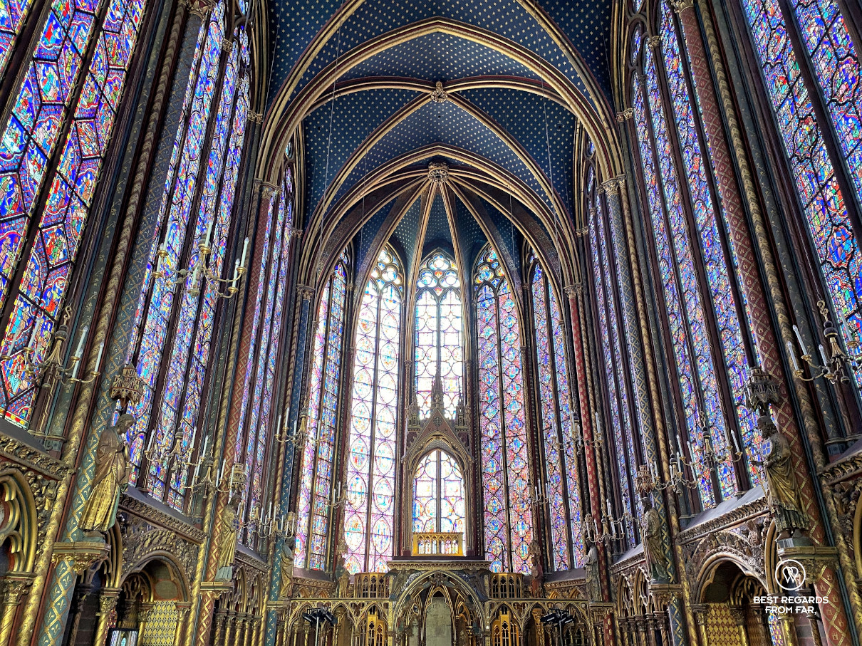 The stained-glass windows of La Sainte Chapelle in Paris, France