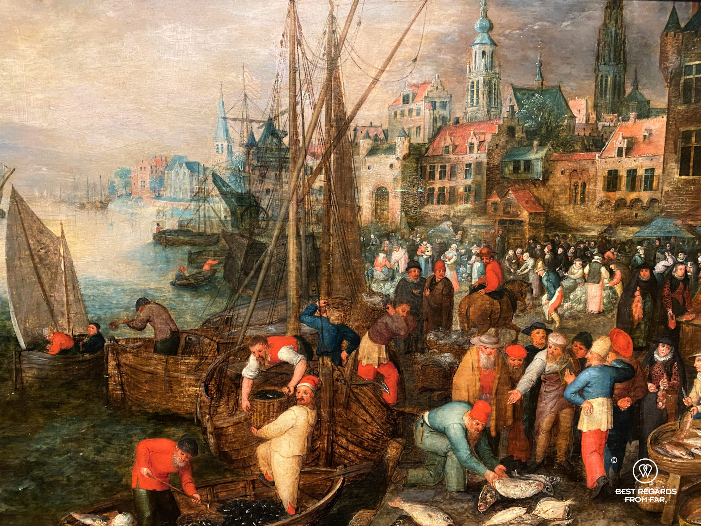 Harbour and market in Antwerp (1600), anonymous, Mayer van den Bergh Museum, Antwerp