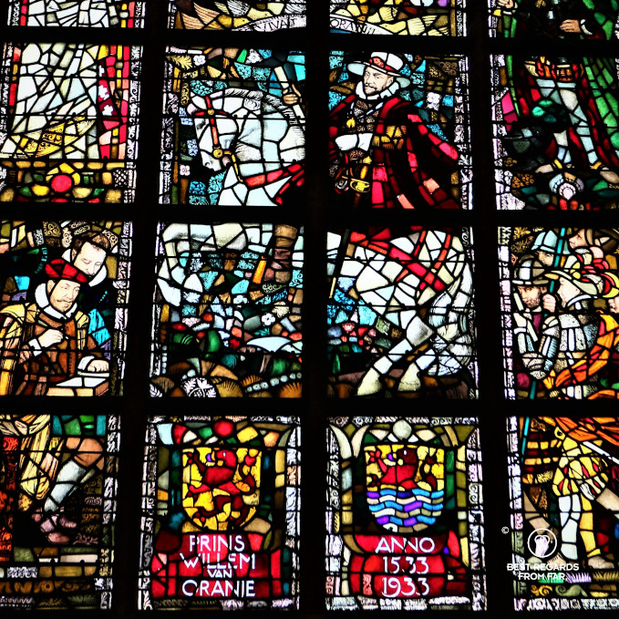 New Church stained-glass window showing William of Orange on a white horse, Delft