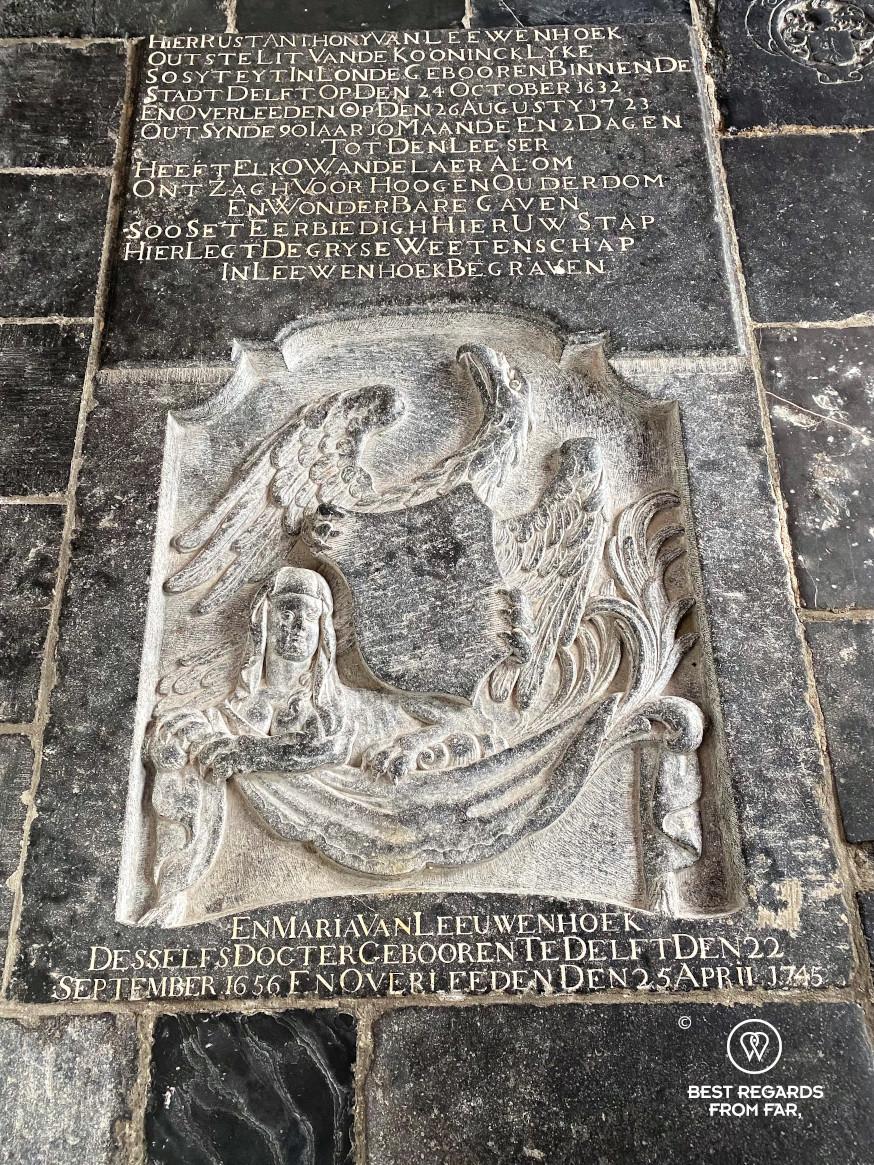The tomb of Antony van Leeuwenhoek, Old Church, Delft, The Netherlands