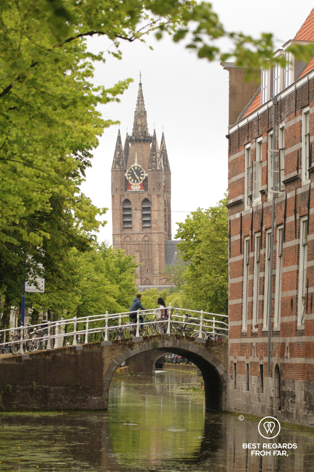 The leaning tower of the Old Church, Delft, The Netherlands