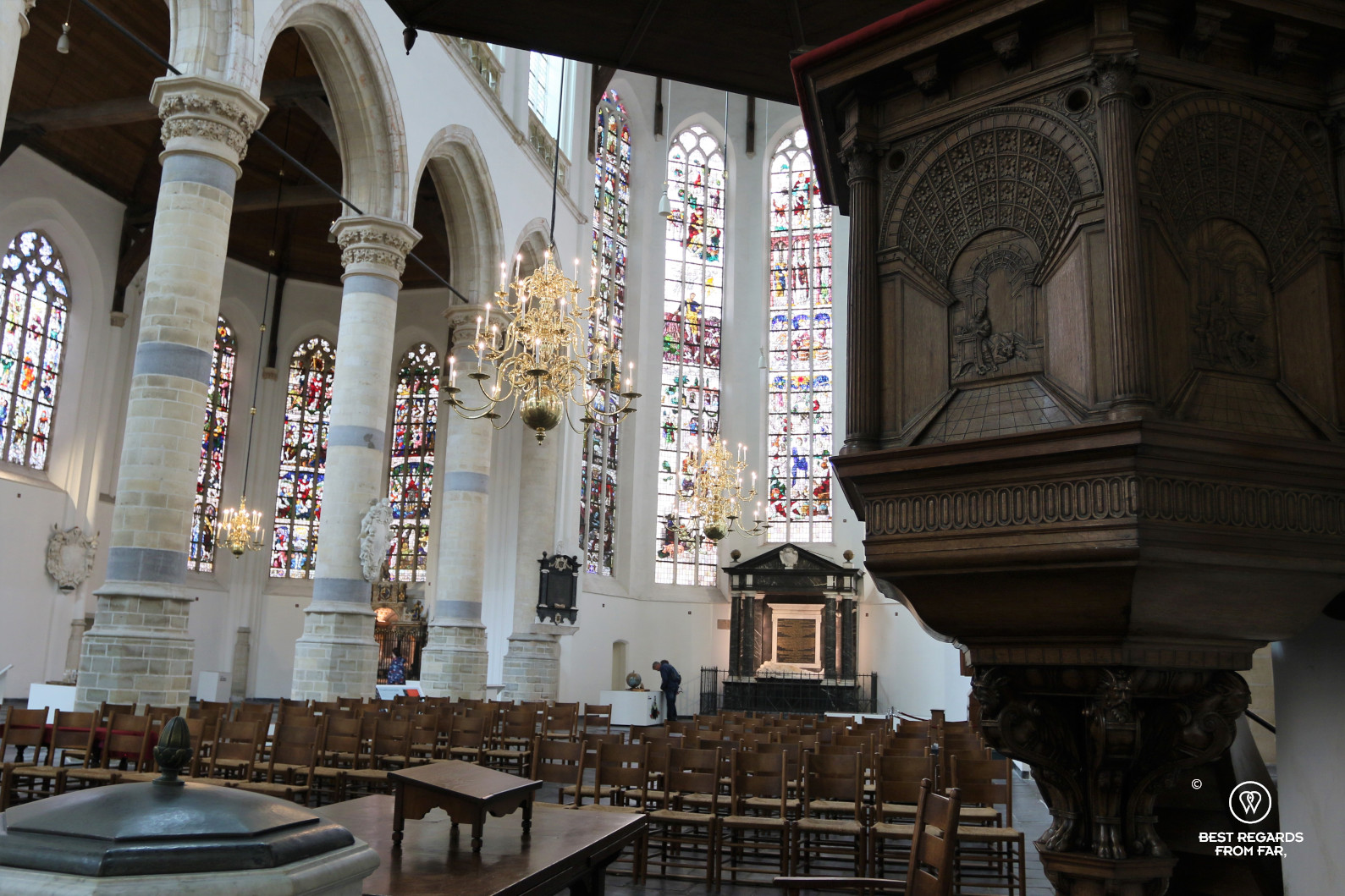 The interior of the Old Church, Delft, The Netherlands
