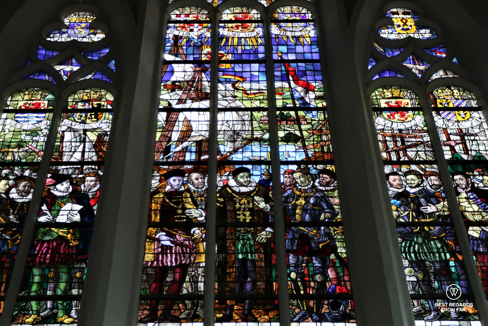 Stained-glass window showing William of Orange's allies in the Old Church, Delft