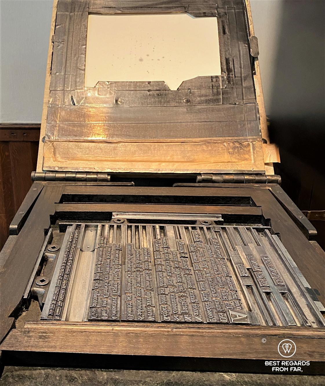 Old printing press at the Plantin Moretus Museum, Antwerp