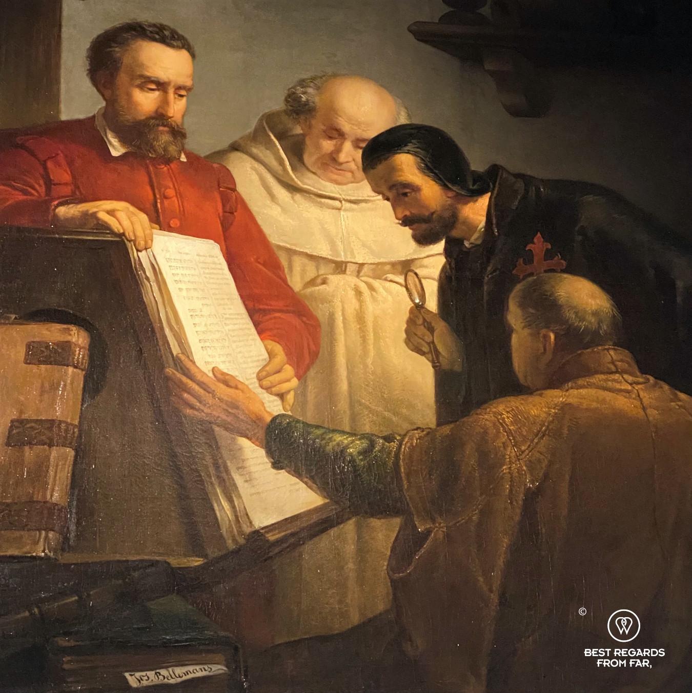 Painting of Plantin showing a copy of Biblia Regia in Antwerp, Plantin Moretus Museum in Antwerp