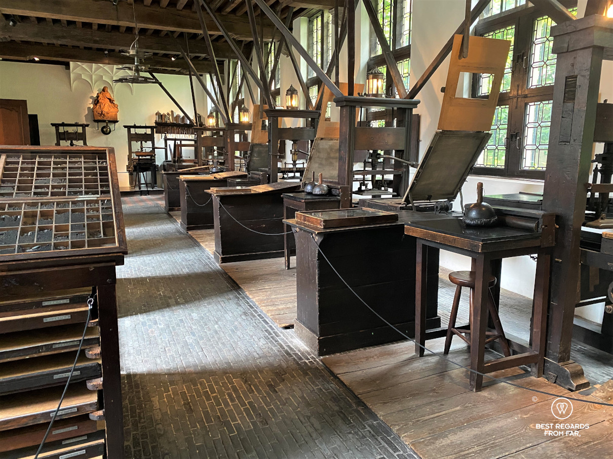 Printing workshop of the Plantin Moretus Museum in Antwerp with many old printing machines