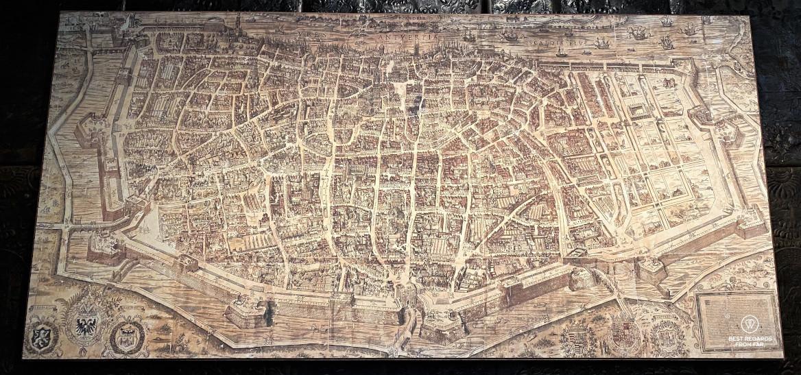 Virgilius Bononiensis map of Antwerp from the 16th century, Plantin Moretus Museum in Antwerp