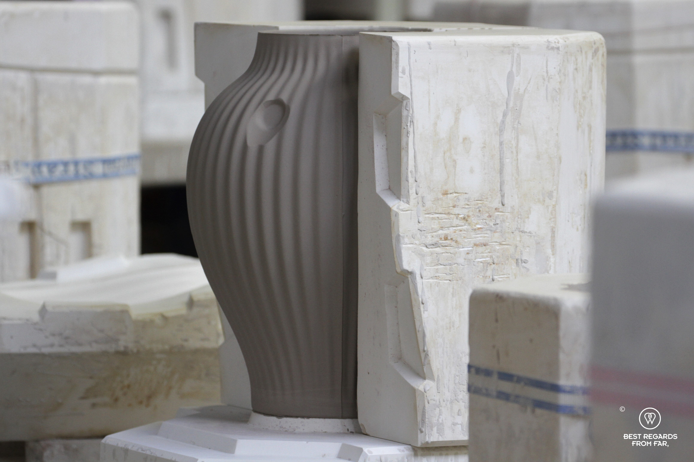Vase in a mould, the Royal Delft factory, the Netherlands