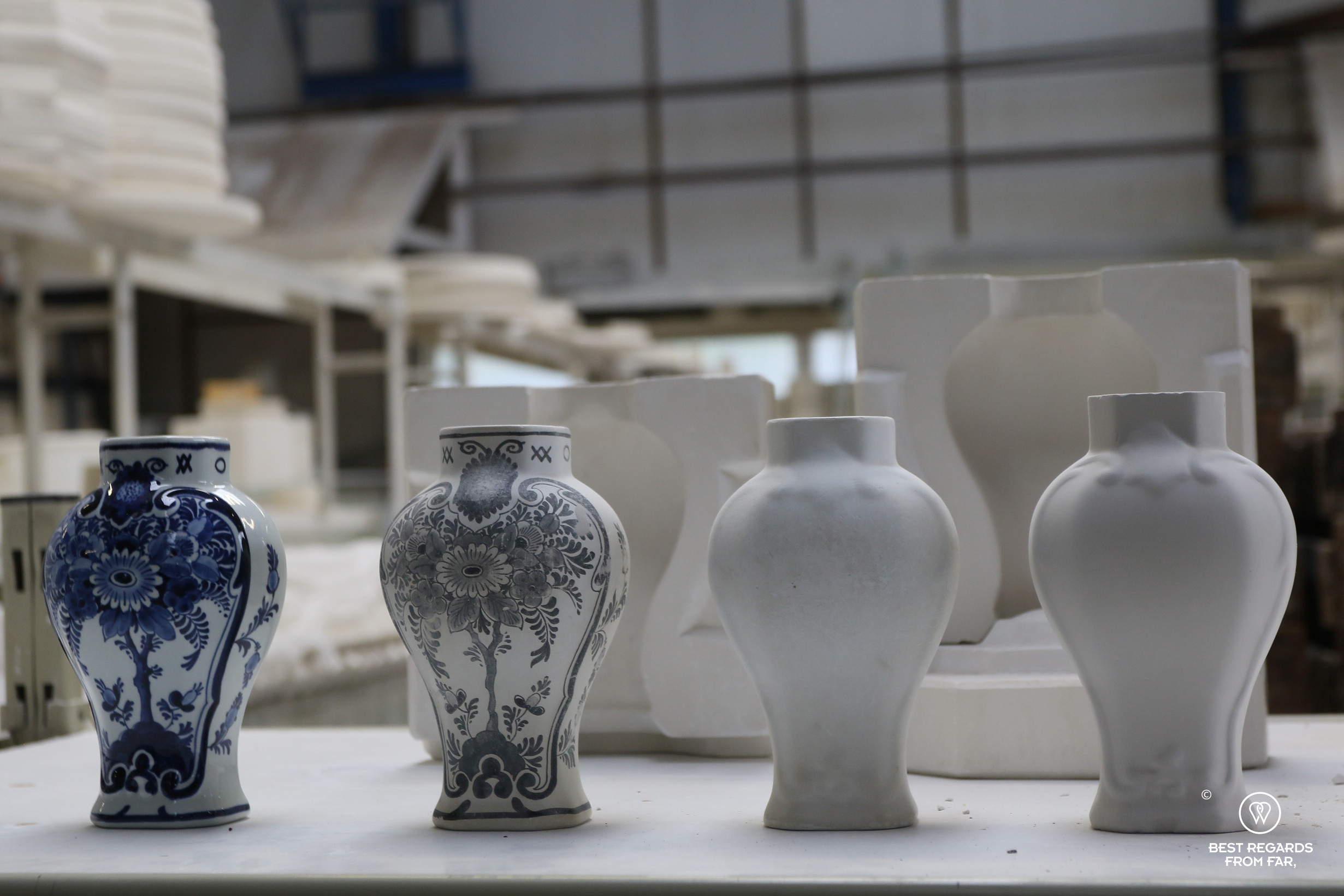 Stages of the manufacturing process of Dleft Blue, the Royal Delft factory, the Netherlands