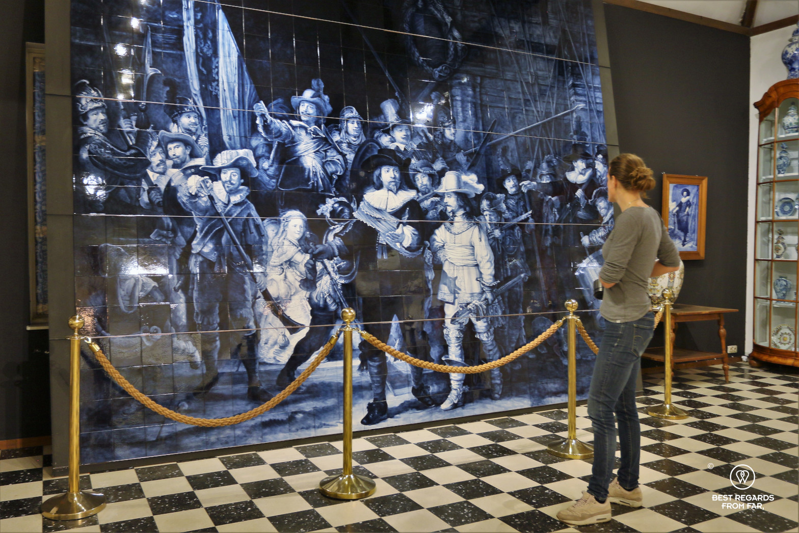Photographer Marcella van Alphen admiring the Night Watch in Delft Blue, the Royal Delft Museum, the Netherlands