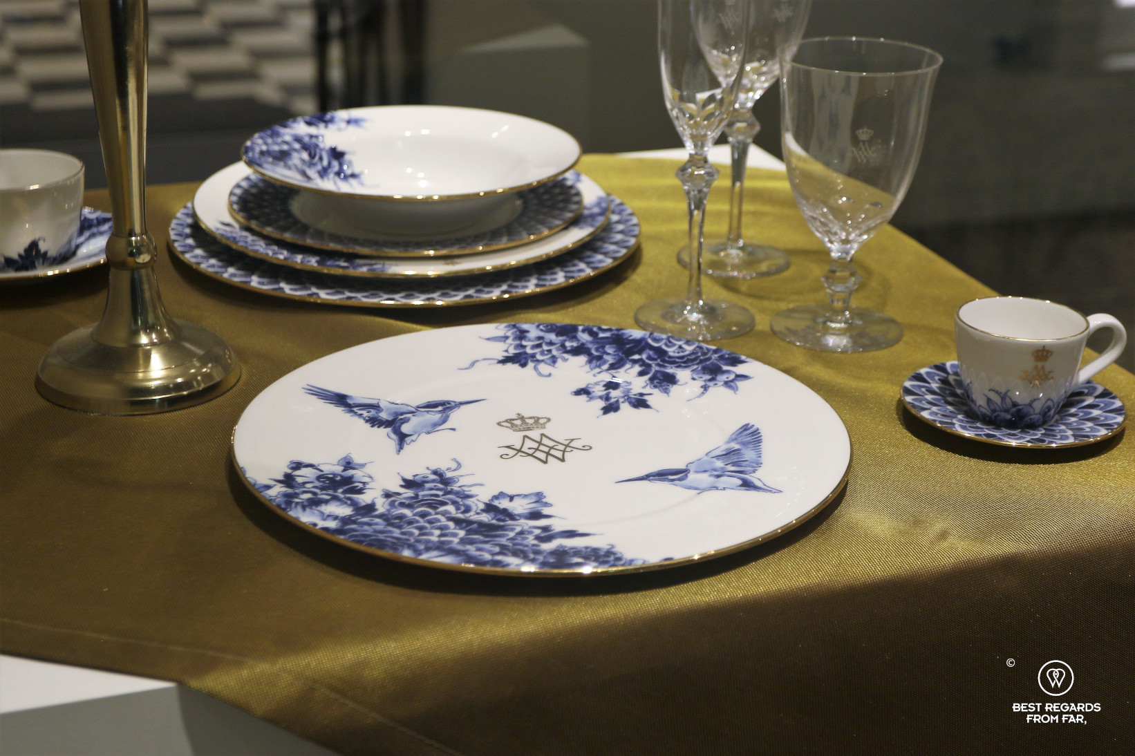 Service with royal initials and birds at the Royal Delft Museum, the Netherlands