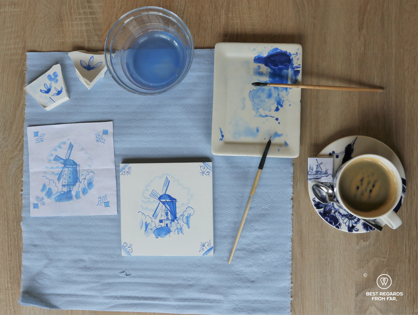 Windmill reproduced by hand on a tile during a tile painting workshop at Royal Delft, the Netherlands