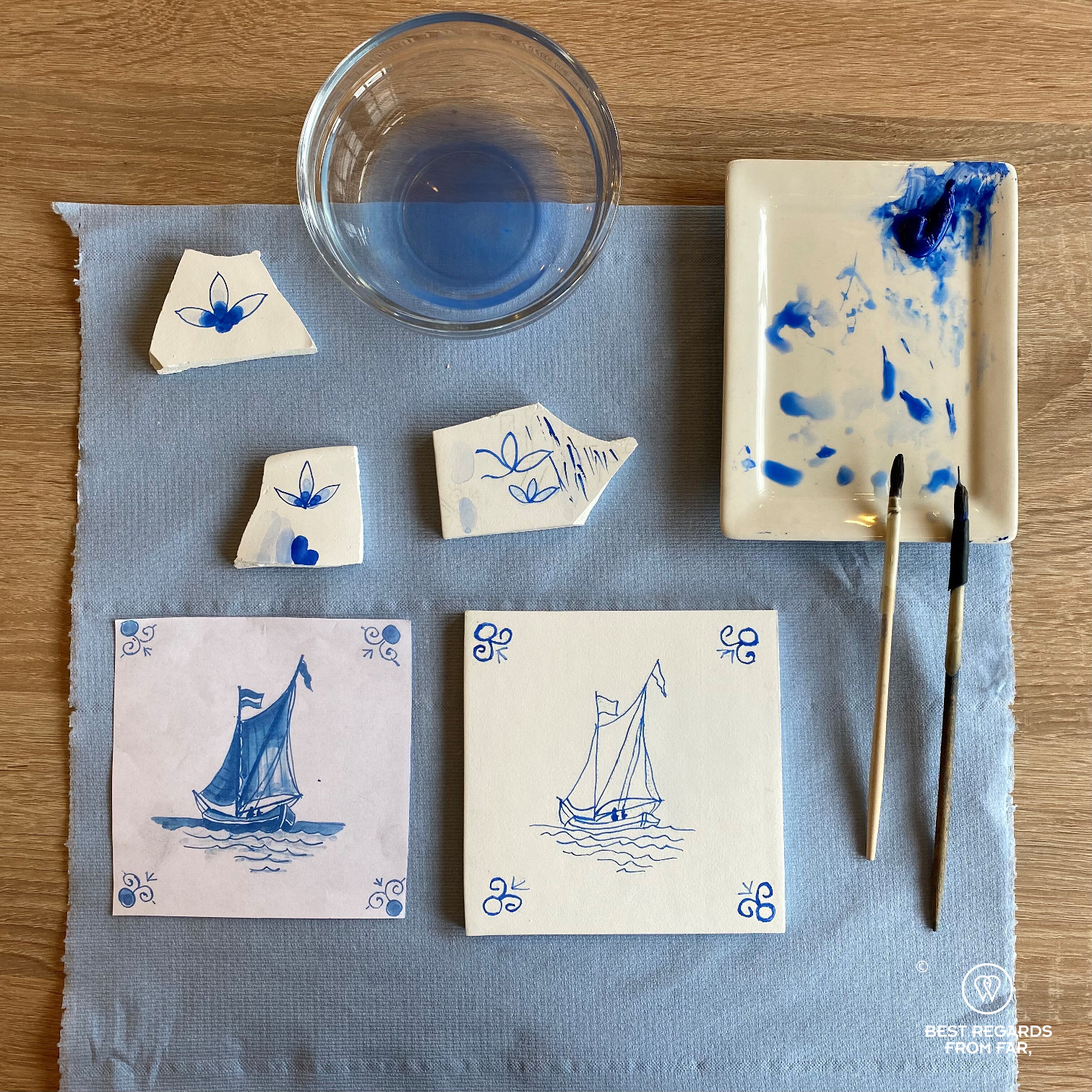 Sailboat painted on a tile during a tile painting workshop at Royal Delft, the Netherlands