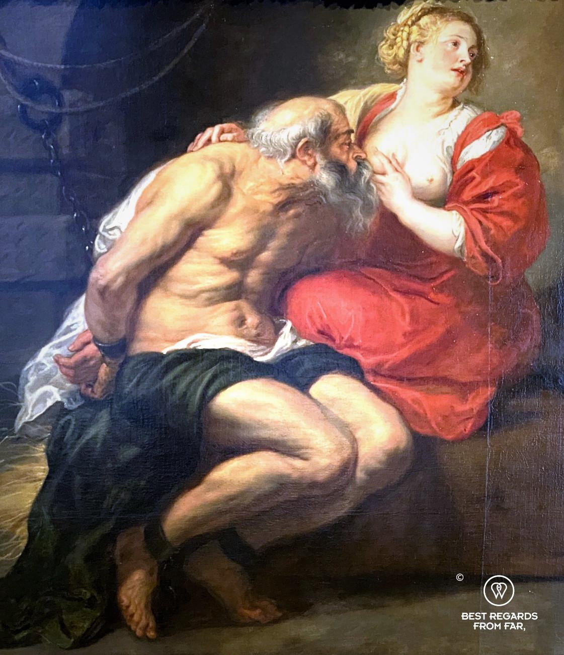 Detail of Cimon and Pero by Rubens, Rubens' House, Antwerp