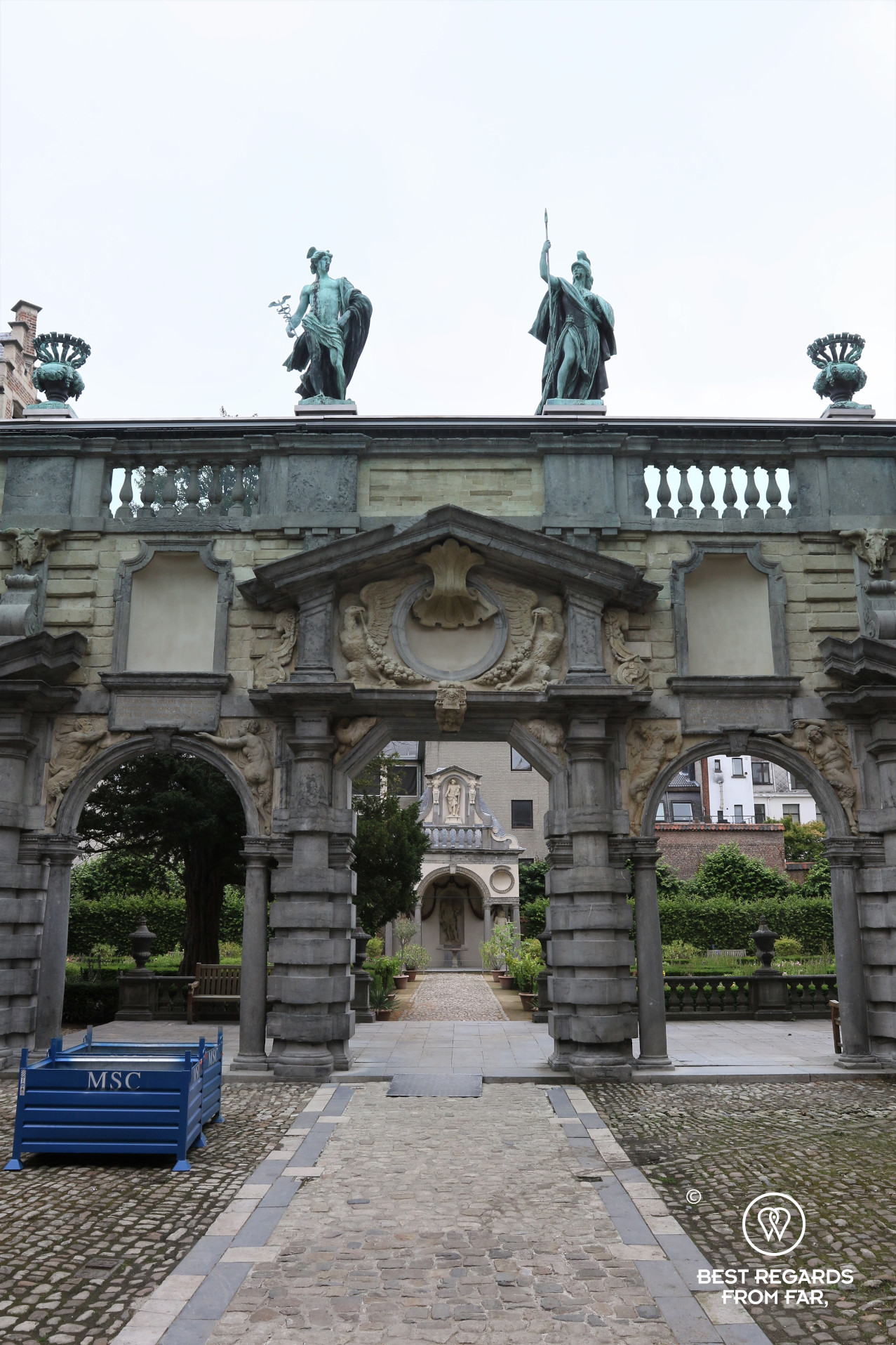 Portico designed by Rubens with two Roman deities, Mercury on the left, the god of painters and Minerva on the right, the goddess of wisdom, Rubens' House, Antwerp