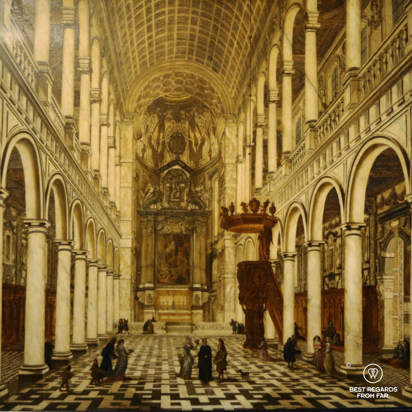 Interior of the jesuit Saint Charles Borromeo Church (1618), by Wilhem Schubert van Ehrenberg, Rubens' House, Antwerp