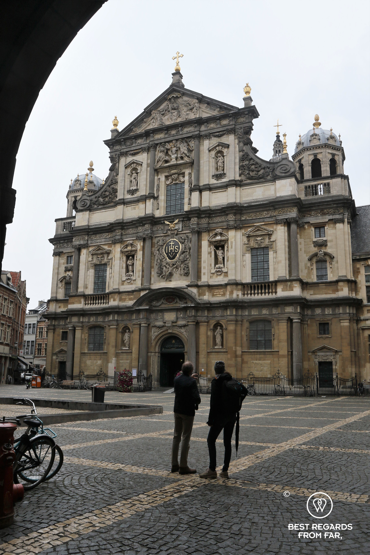Baroque exterior of Saint Charles Borromeo Church, Antwerp