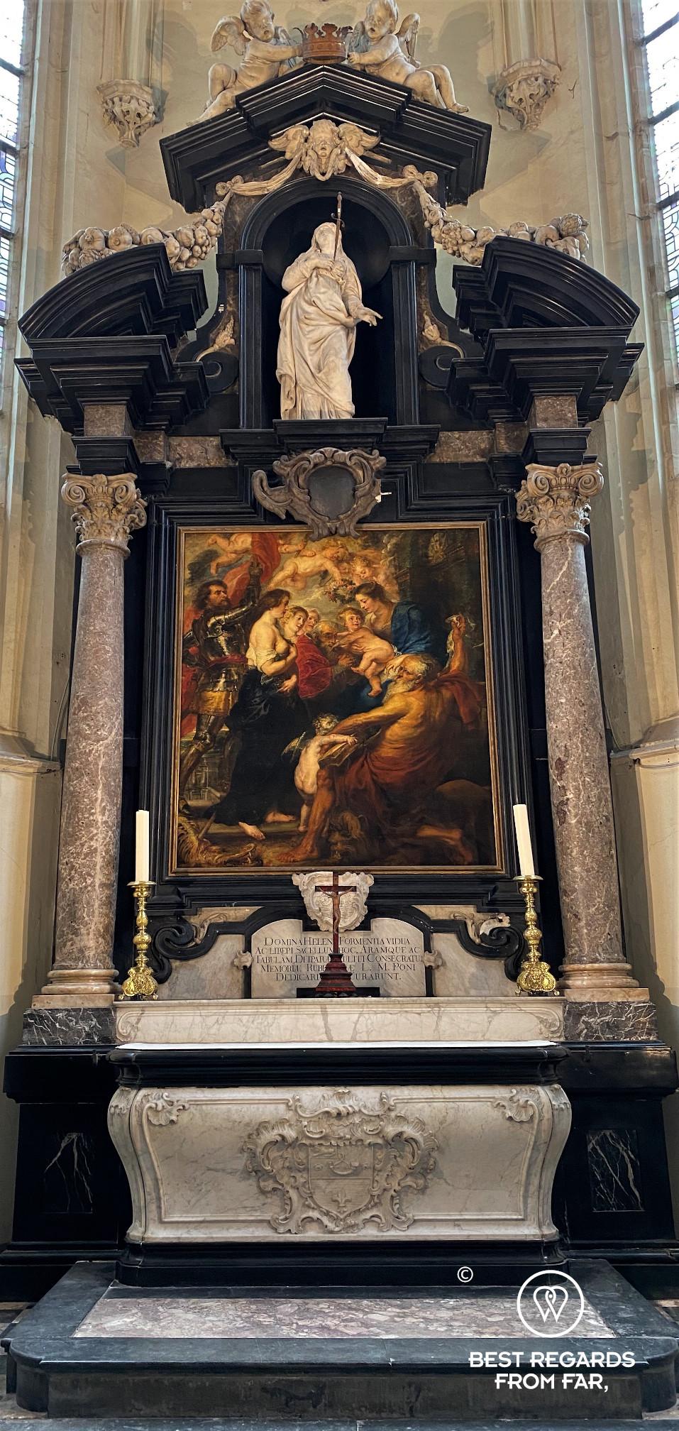 Holy Virgin with Saints (1634) by Rubens, Saint James Church, Antwerp, in the burial chapel of Rubens