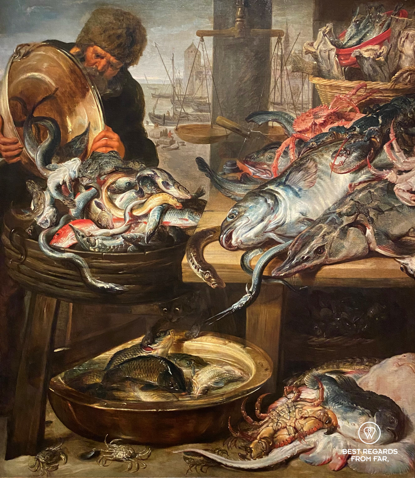 Fish market in Antwerp (1620's) by Frans Snijders, Snijders Rockoxhuis, Antwerp, with sea and river fish and Het Steen and the cathedral in the background.