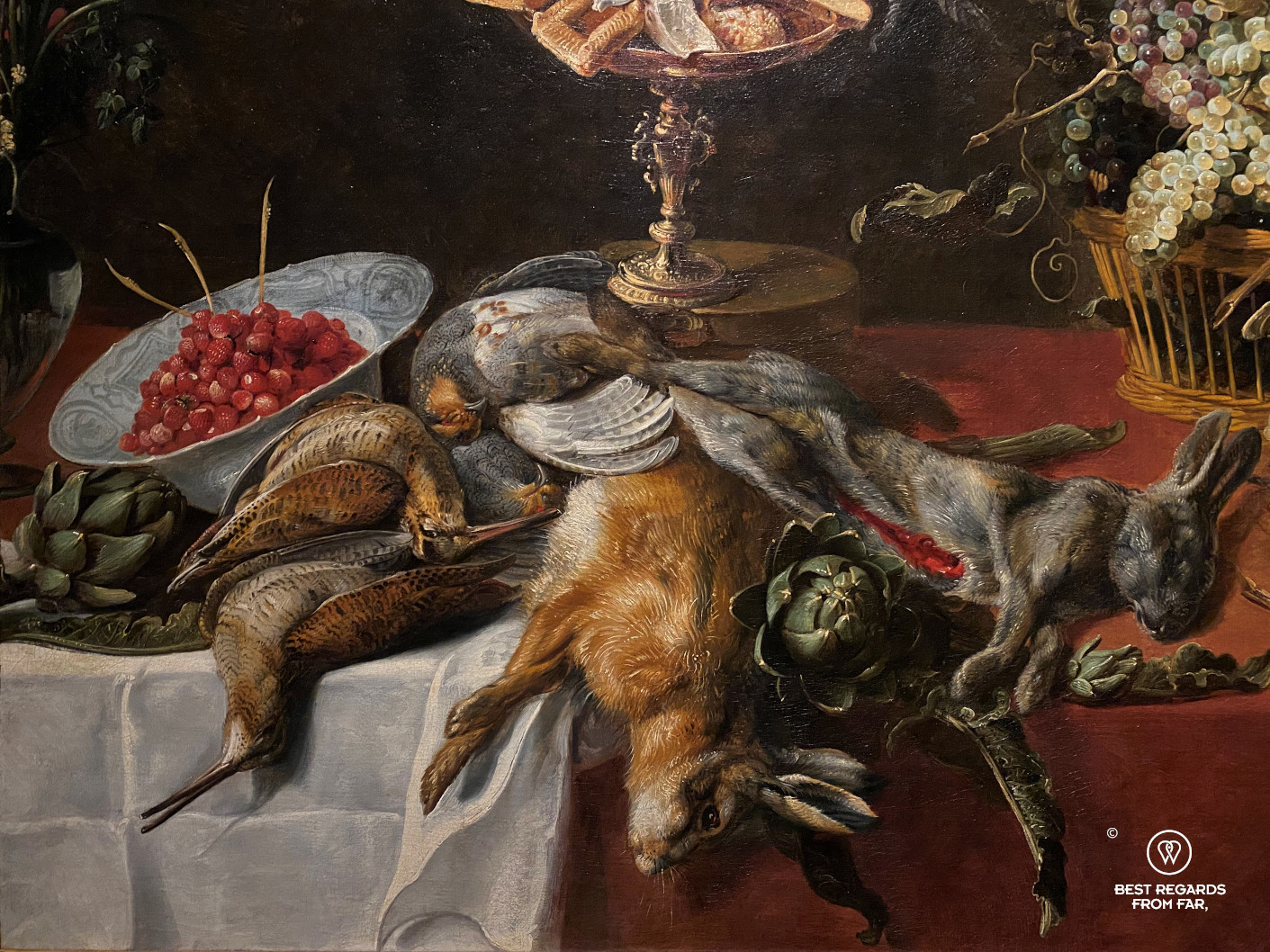 Still life (1620's) by Frans Snijders, Snijders Rockoxhuis, Antwerp, showing game and fruits