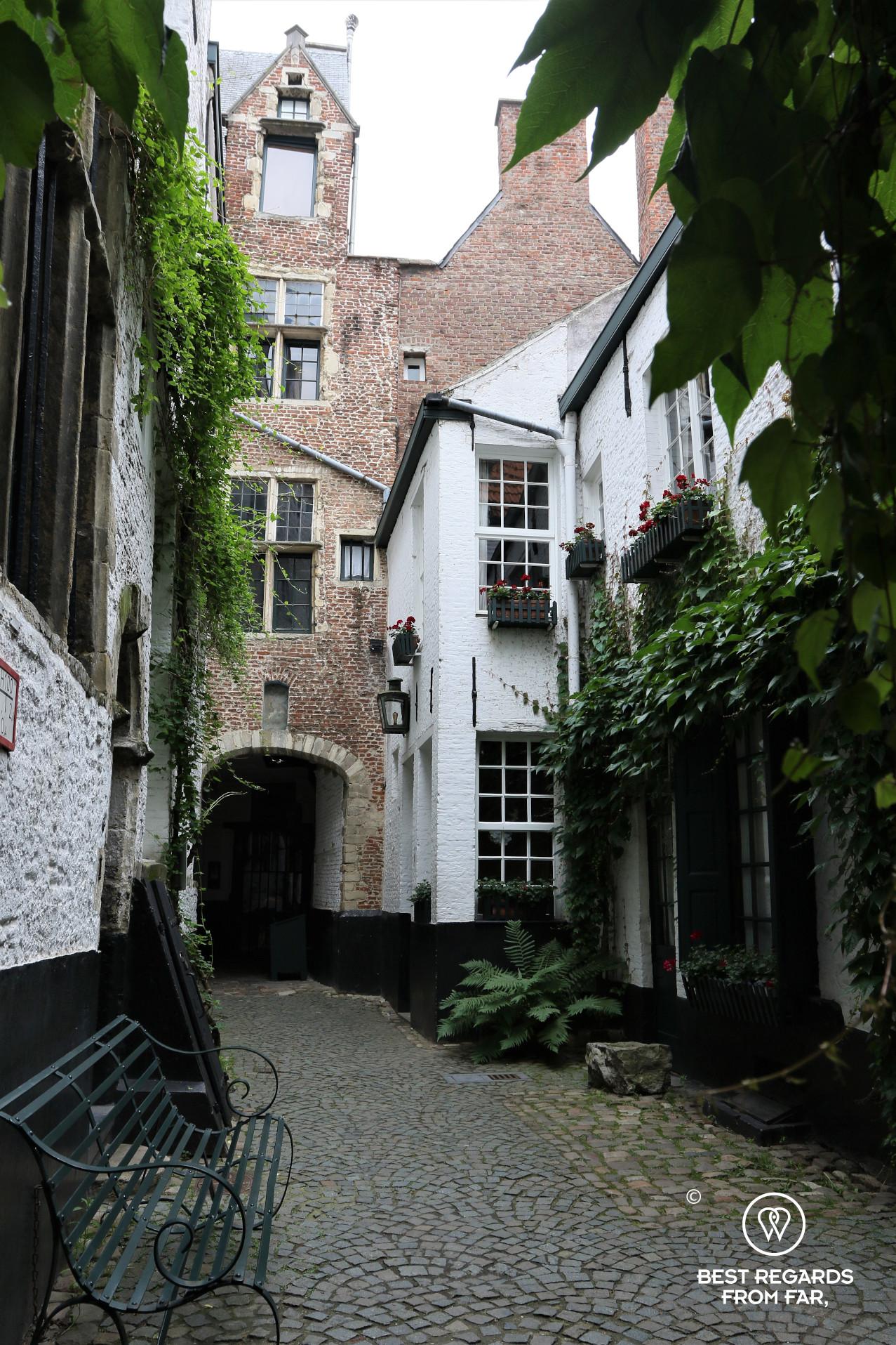 Cute Vlaeykensgang medieval street Antwerp, Belgium