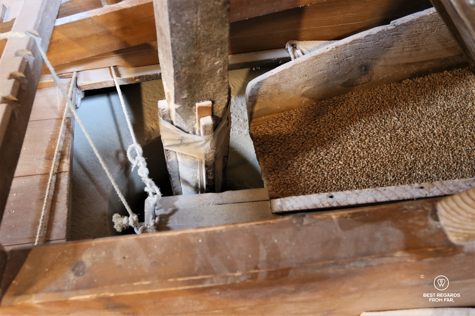 Grinding wheat at the windmill de Roos, Delft, The Netherlands