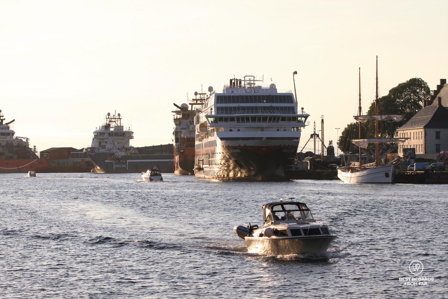The Hurtigruten in the harbour of Bergen, Norway