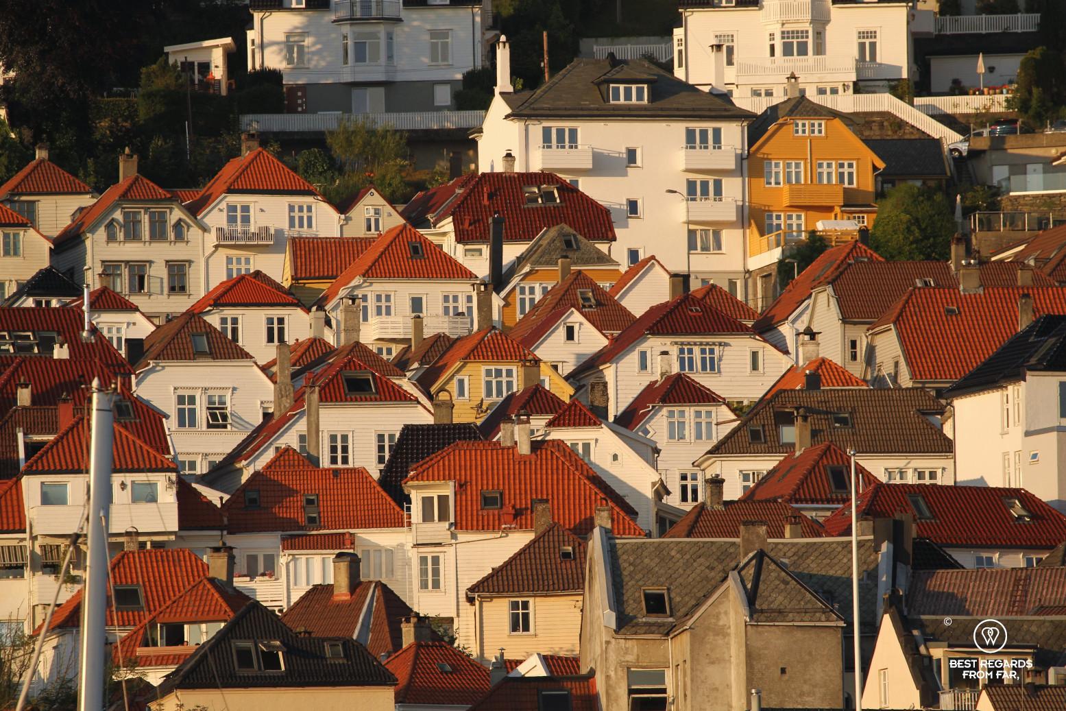 Upper Bryggen at sunset, Bergen