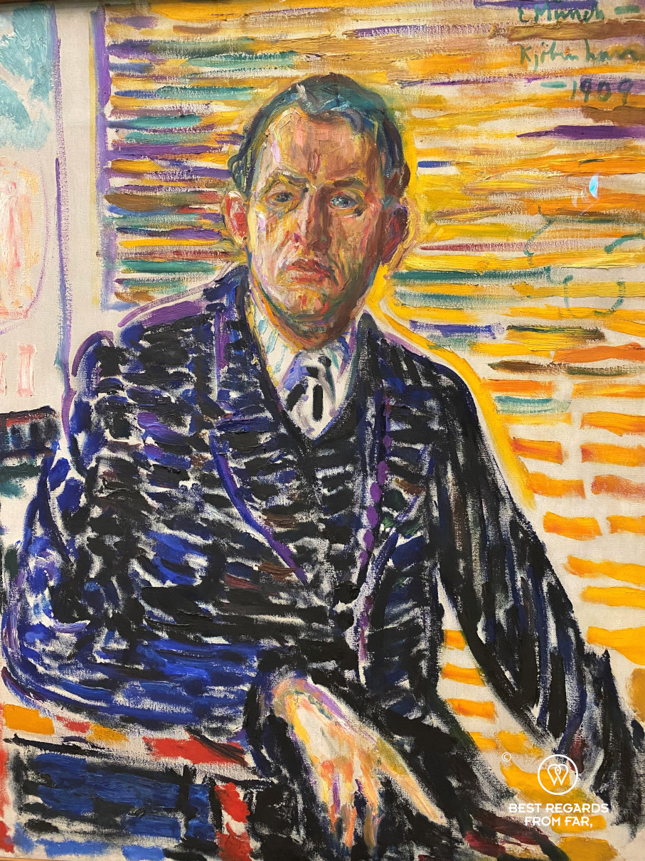 Self portrait in the clinic by Munch, Kode 3 museum