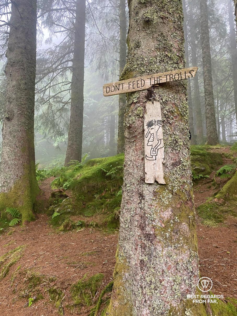Don't feed the troll sign in Floyen troll forest, Bergen