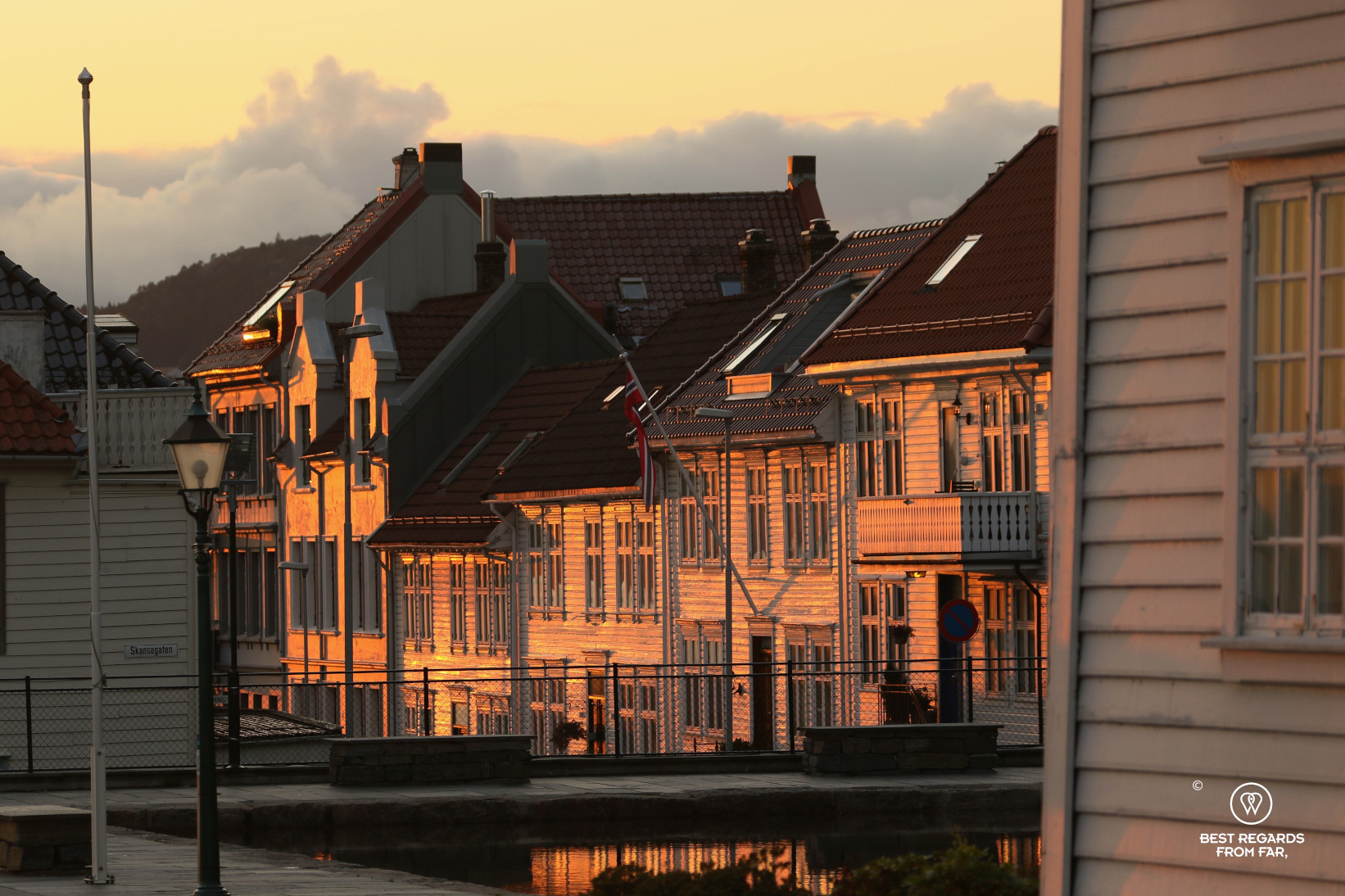 Bryggen at sunset, Bergen, Norway