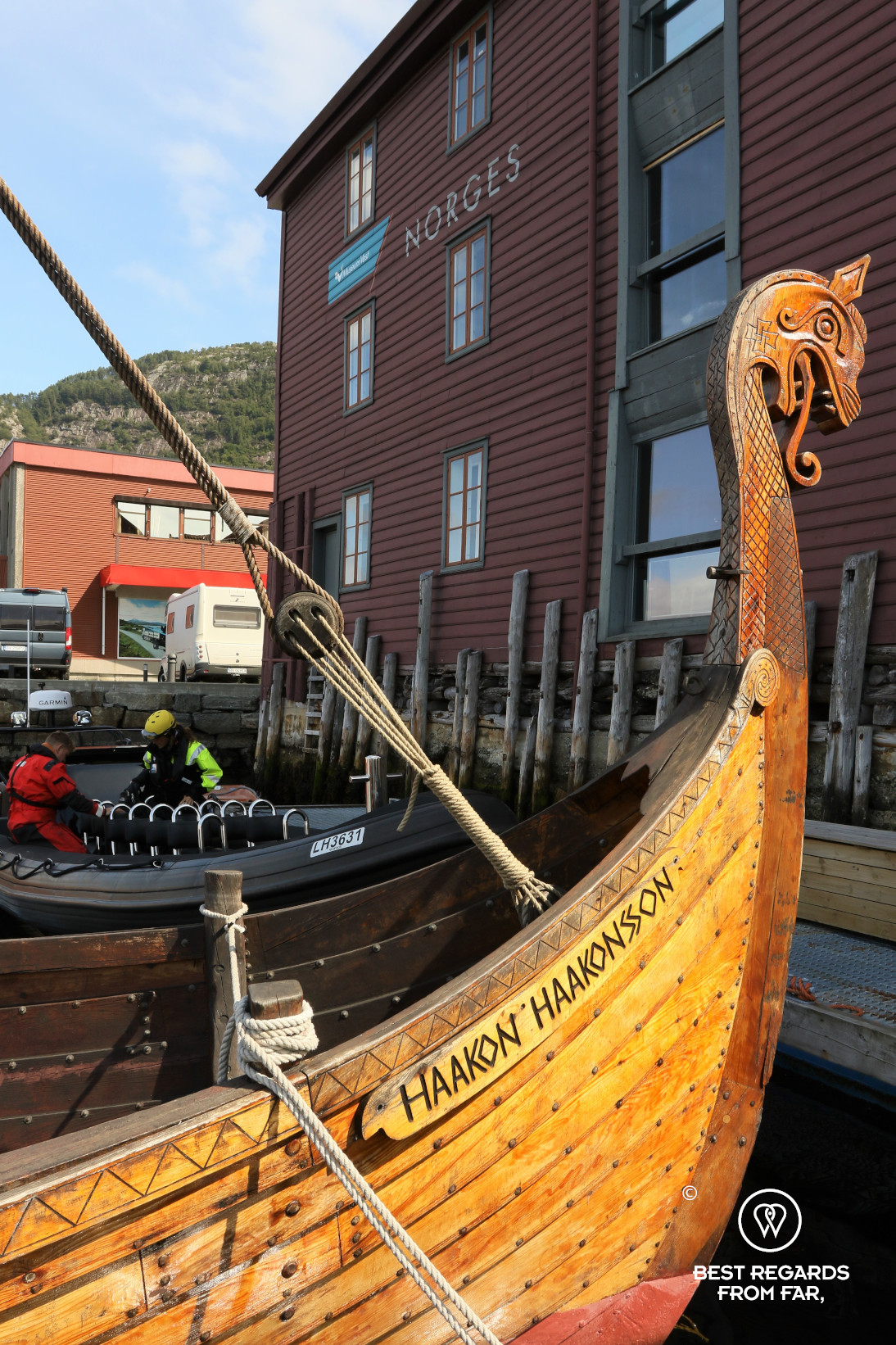 Bergen Fisheries museum with drake and RIB, Bergen, Norway