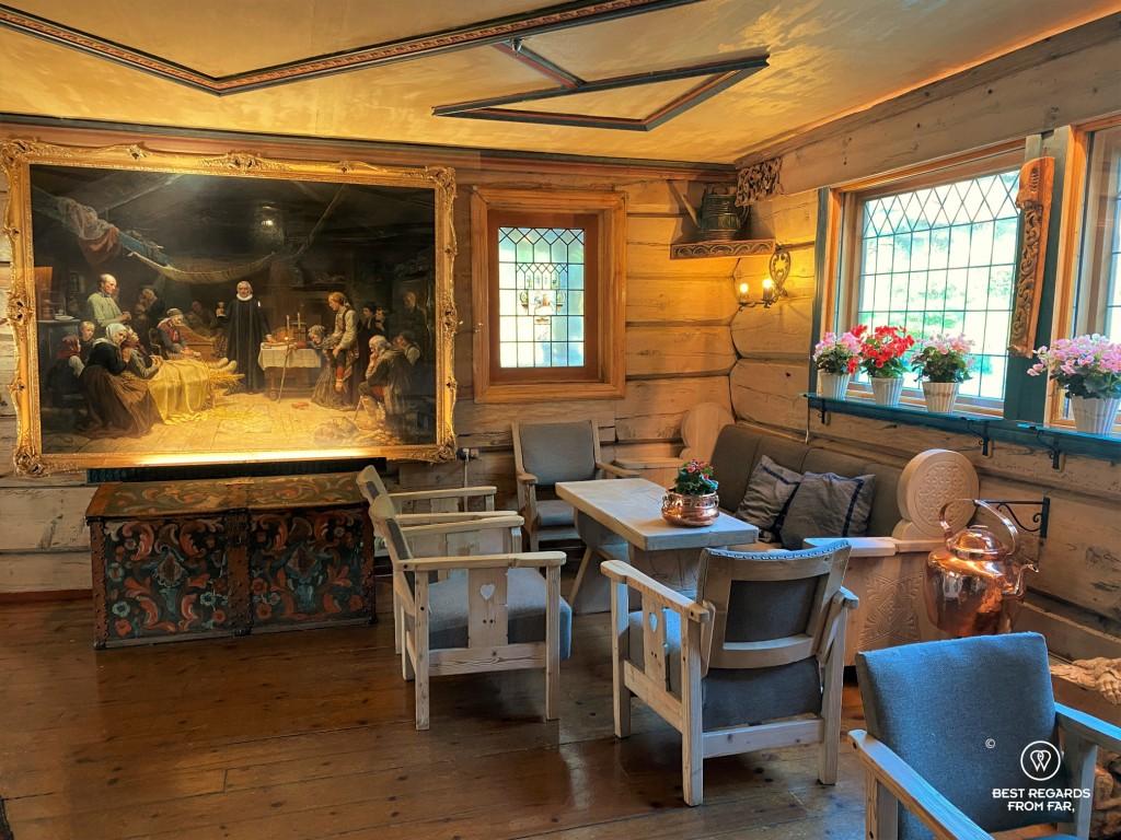 Tideman painting in the Elveseter Hotel, Norway